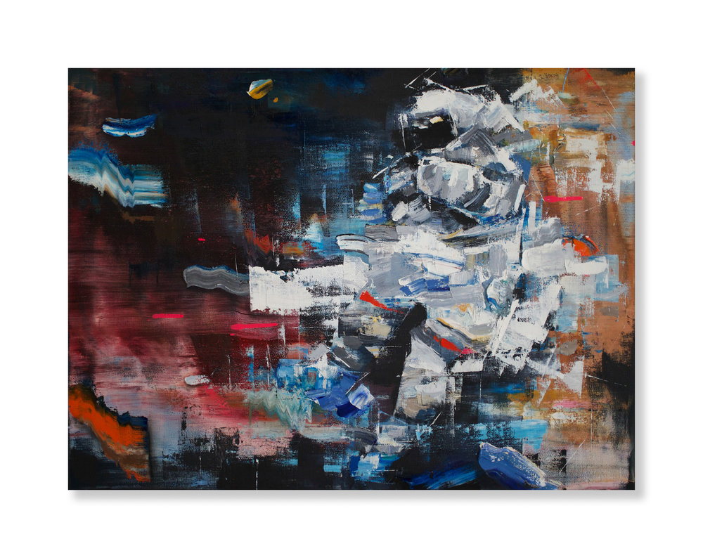 "Matthew Ryan Herget  The Flow Of Things  (2018) Oil and spray paint on canvas 24"" x 18""  INQUIRE"