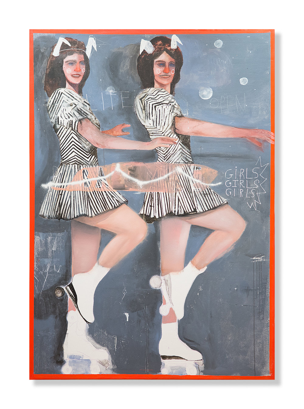 "John Sarkis  Showgirls  (2017) Mixed media on canvas 51"" x 73.5""  INQUIRE"