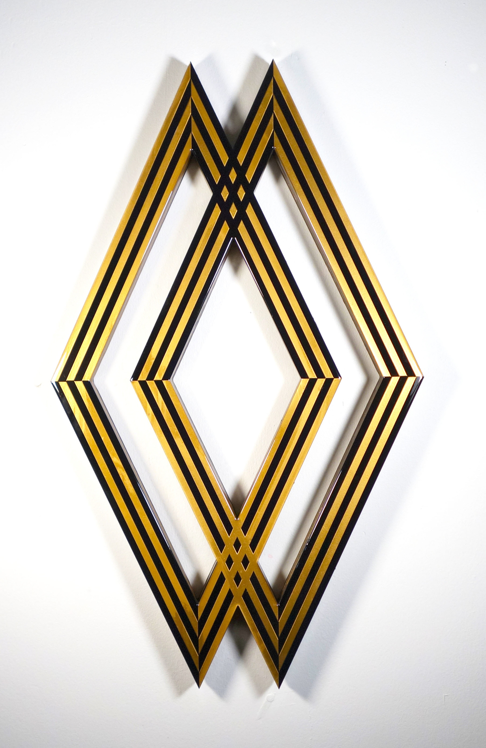 "Tavar Zawacki  DIAMOND INTERSECT - GOLD  (2018) Laser cut wood panels, acrylic paint, wood nails, Industrial UV protected resin 23"" x 38.5"" x 1.5""  INQUIRE"
