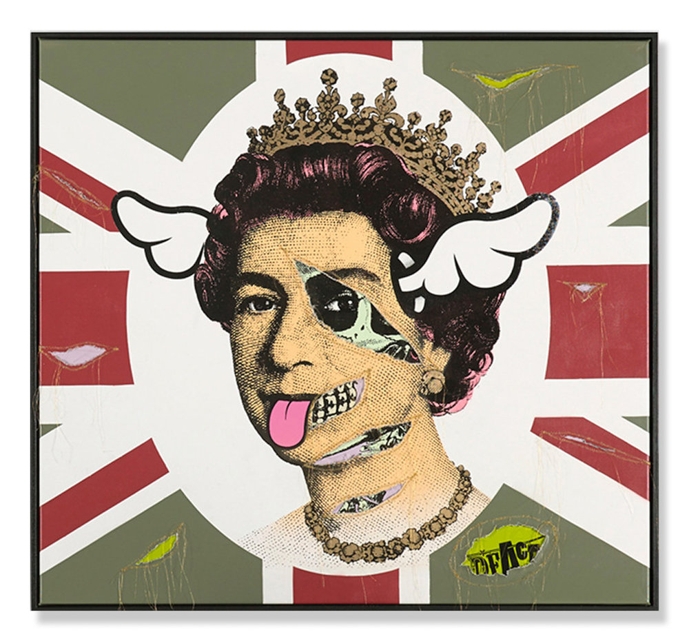 "D*Face  HRH Her Royal Hideousness  (2015) Enamel and pigment based paint on two canvases sewn together 52.75"" x 48.75"" - framed  INQUIRE"