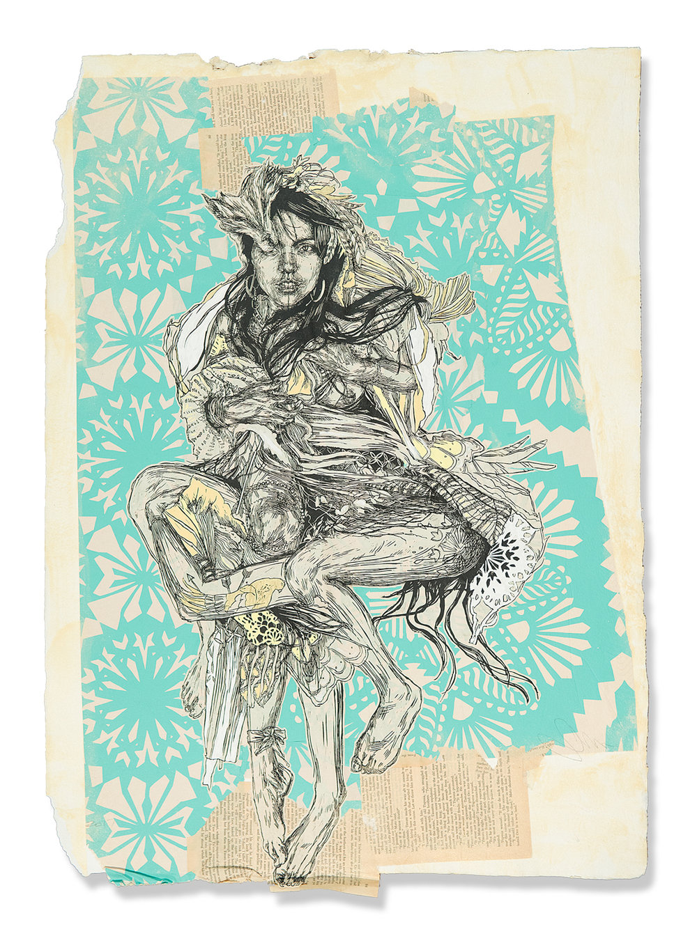 "Swoon  Monica  (2017) Silkscreen and acrylic gouache on handmade paper, *paper made by artist 22"" x 31""  INQUIRE"