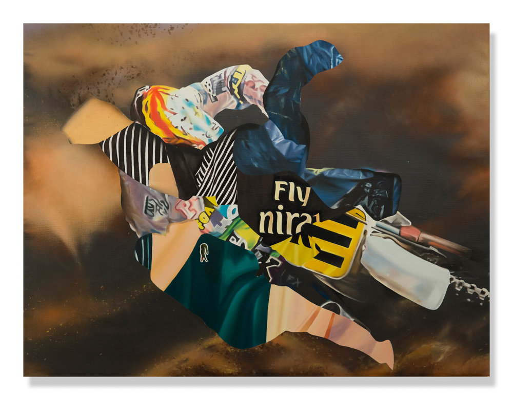 """Eric Basstein  Riding High  (2018) Oil and aerosol on linen 66"""" x 50""""  INQUIRE"""
