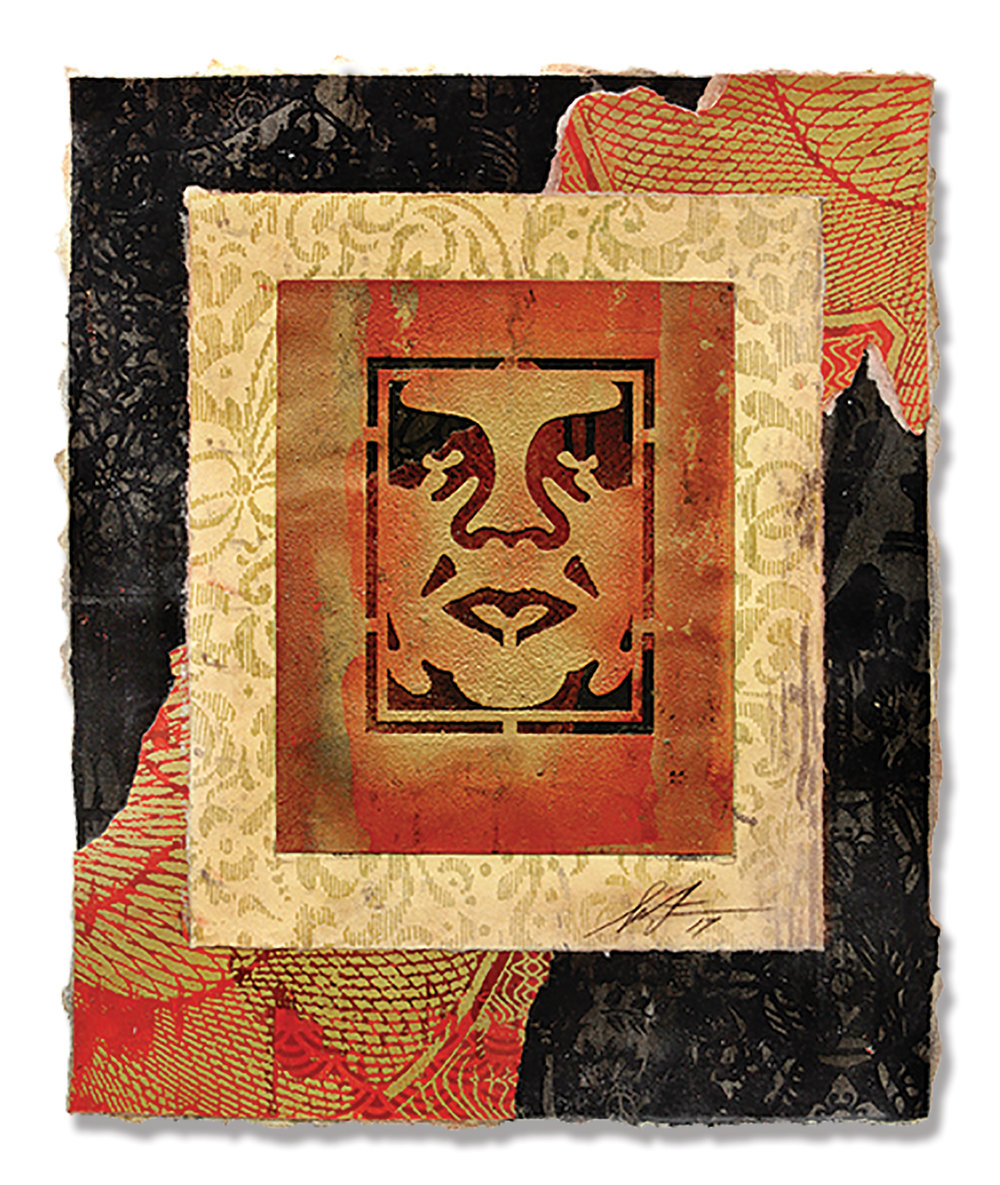 "Shepard Fairey Icon Stencil (2017)  Material Stencil and Mixed Media Collage on paper 15"" x 18""   INQUIRE"