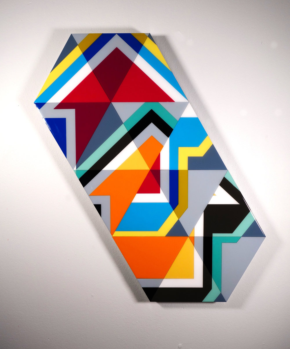 "Tavar Zawacki  DOUBLE TAKE - POLYGON  (2018) Laser cut wood panels, acrylic paint, wood nails, industrial UV protective resin 21.5"" x 38.5"" x 1.5""  INQUIRE"