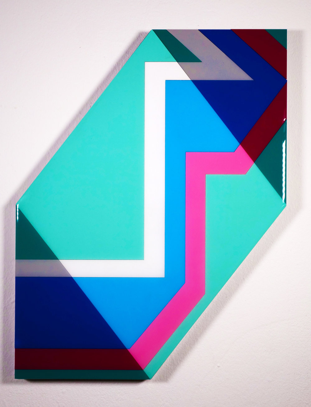 "Tavar Zawacki  DIAMOND ALIGNMENT - MINT  (2018) Laser cut wood panels, acrylic paint, wood nails, industrial UV protective resin 17.75"" x 23"" x 1.5""  INQUIRE"