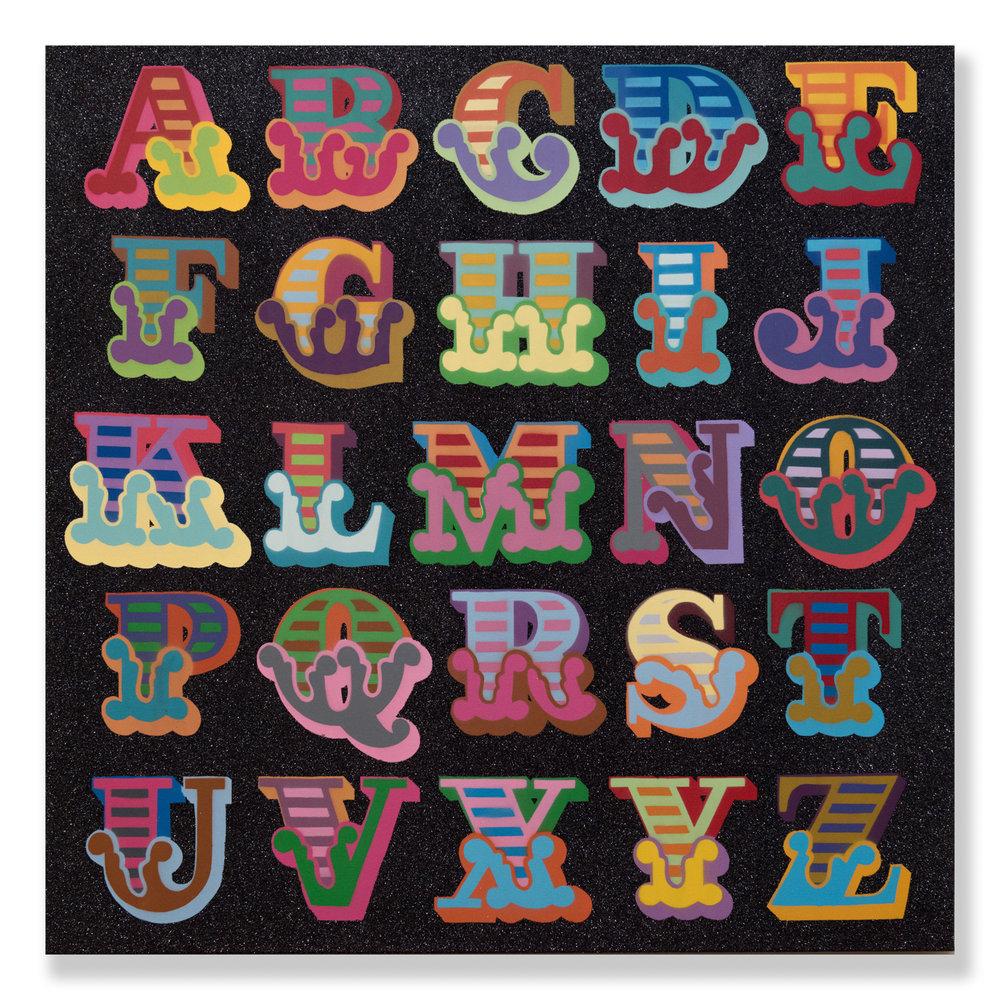 """Ben Eine  Glitter A-Z  (2018) Aerosol and glitter on canvas 39.5"""" x 39.5""""  INQUIRE"""