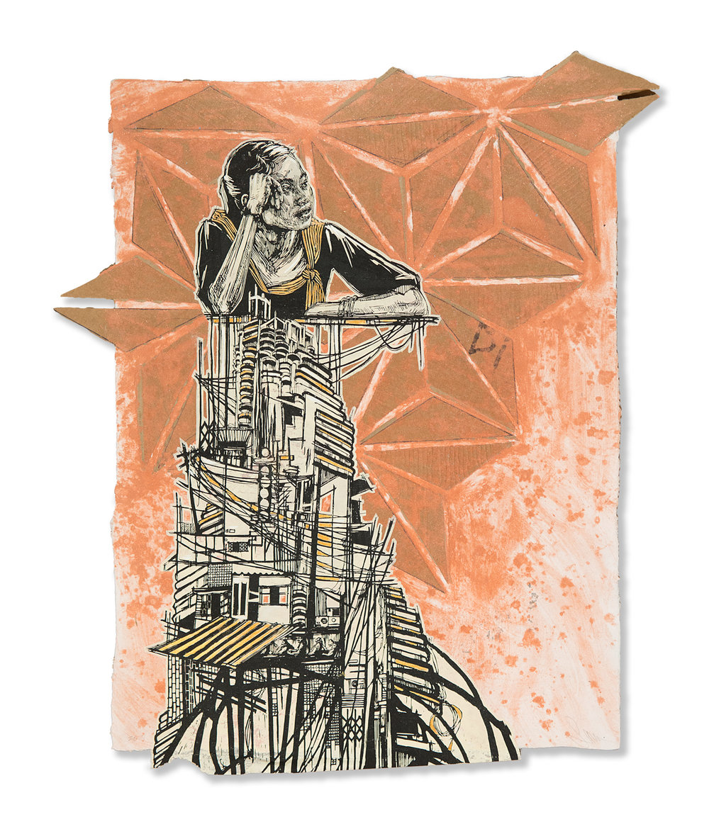 "Swoon  Bangkok  (2018) Silkscreen and acrylic gouache on handmade paper 24"" x 31"" - framed  INQUIRE"