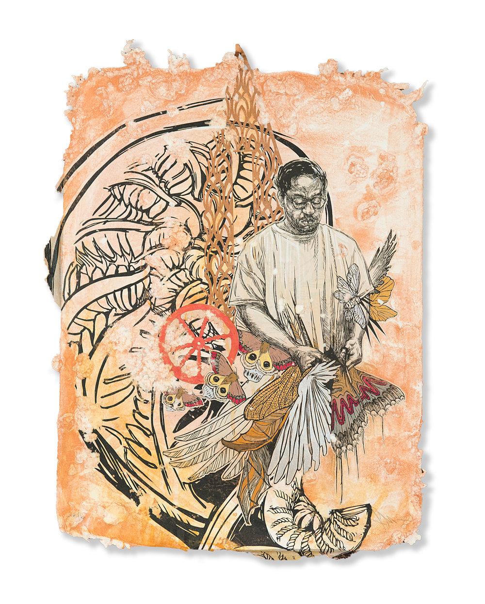 "Swoon  Yaya  (2016) Silkscreen and acrylic gouache on handmade paper 22"" x 29"" - framed  INQUIRE"