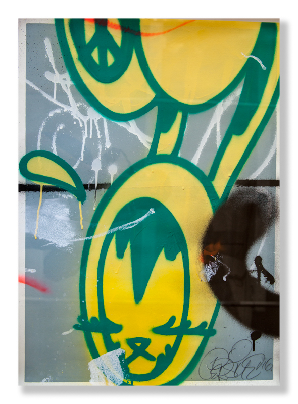"Pursue  BK Yellow  (2016) Aerosol on paper 22.5"" x 30.5"" - framed  INQUIRE"