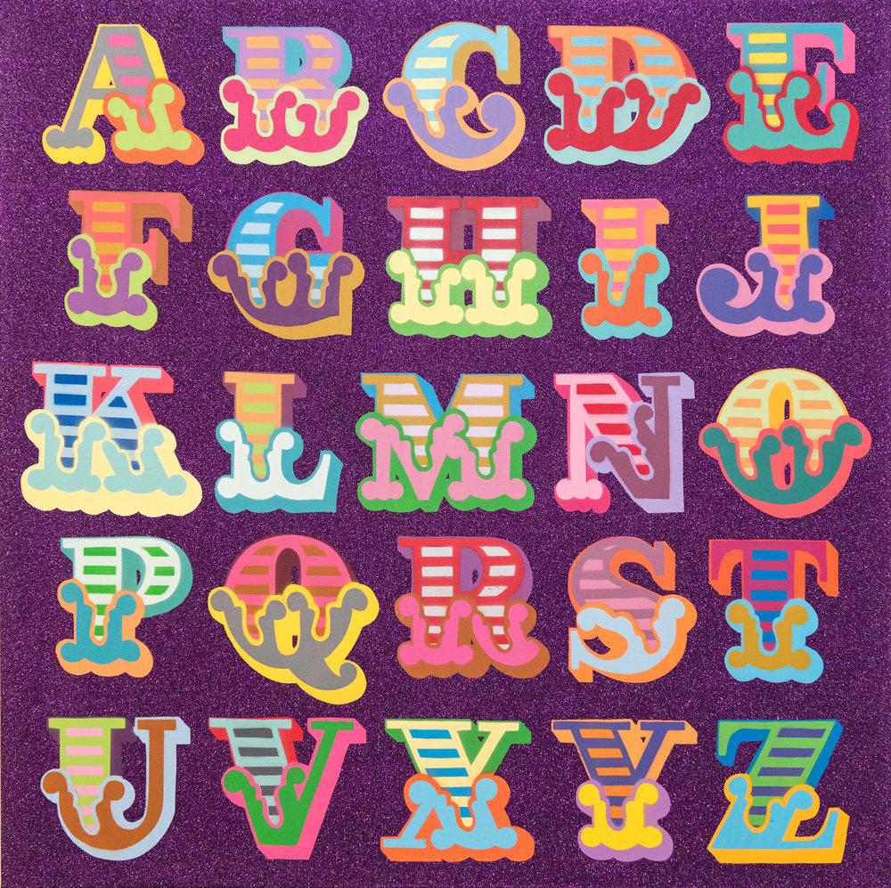 Ben Eine - Glitter A-Z (violet)