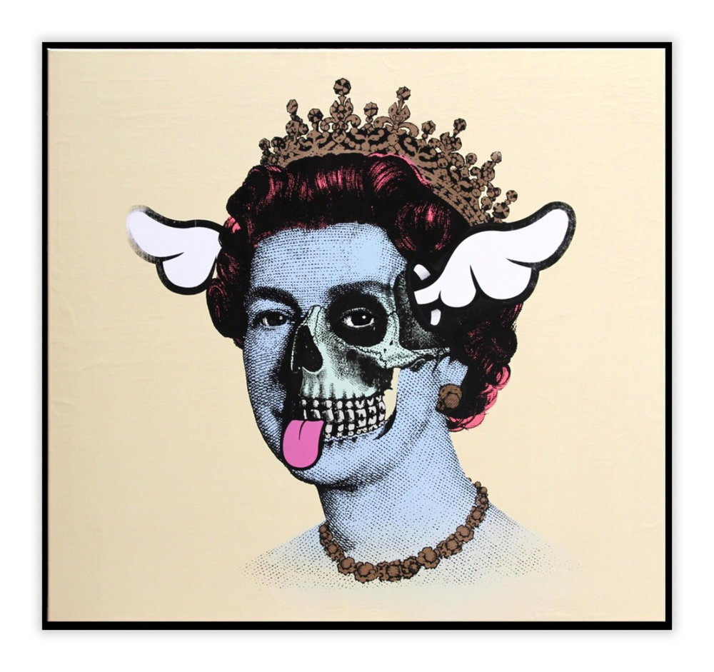 "D*Face  Mortuss Vivens Regina - Vanilla  (2015) Emulsion and enamel on canvas 47"" x 51"" - framed  INQUIRE"