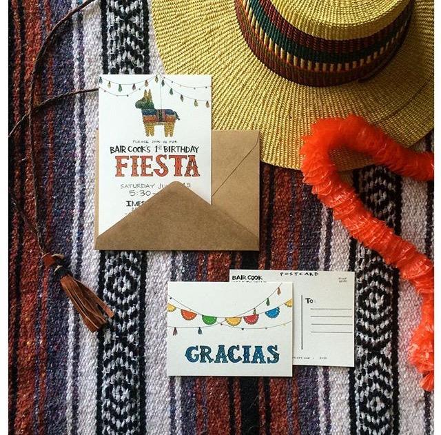 Custom First Birthday Fiesta Invites