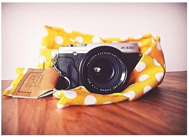 Mustard Dot Scarf Camera Strap