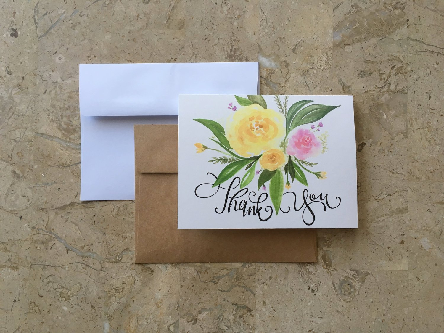 Floral Thank You Card Country Eyes Ocean Heart