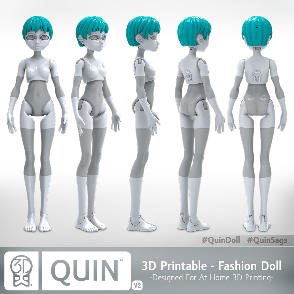 Quin, The 3D-Printable Doll & Accessories