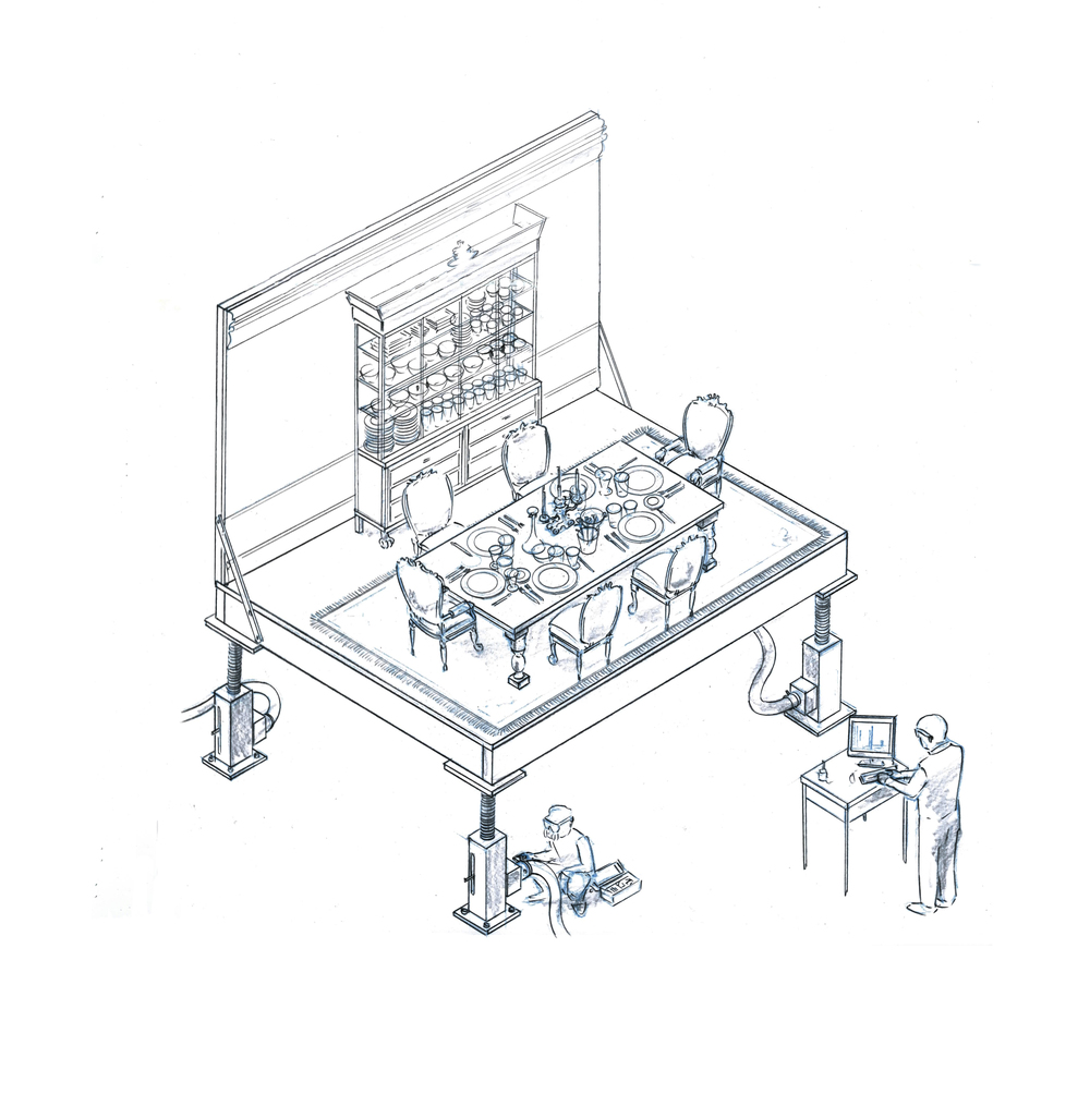 Isometric  of a shock-absorber-testing facility-- with the replacement of the auto by a prim and proper dinner table setting. From a sketch by director Asif Mian.
