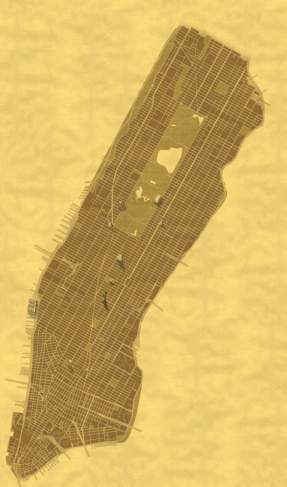 This hand-drawn image  of New York City was designed to overlay the Google Maps API. It was tiled from over one hundred separate drawings. It was designed to look like a 19th century map.