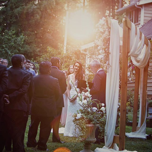 """Sunsets are not a rare commodity, they come and go every night, so I compare you not to a sunset, for you come once in a life."" ~ Daniel Cook ✨ ✨ ✨ Incredible #sunflare during this ceremony. #ido #weddingday #sunsetwedding #pnwwedding #outdoorwedding #pnwweddingphotographer #seattleweddingphotographer #kitsapweddingphotographer #wildheart❤️photography #seattlebride"