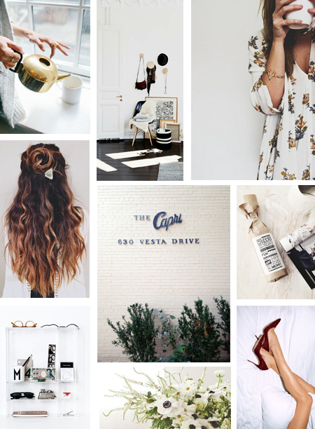 images via pinterest --  kettle  ||  chair  ||  hair  ||  morning jo  ||  capri  ||  wine-thirty  ||  shelf  ||  heels  ||  flowers