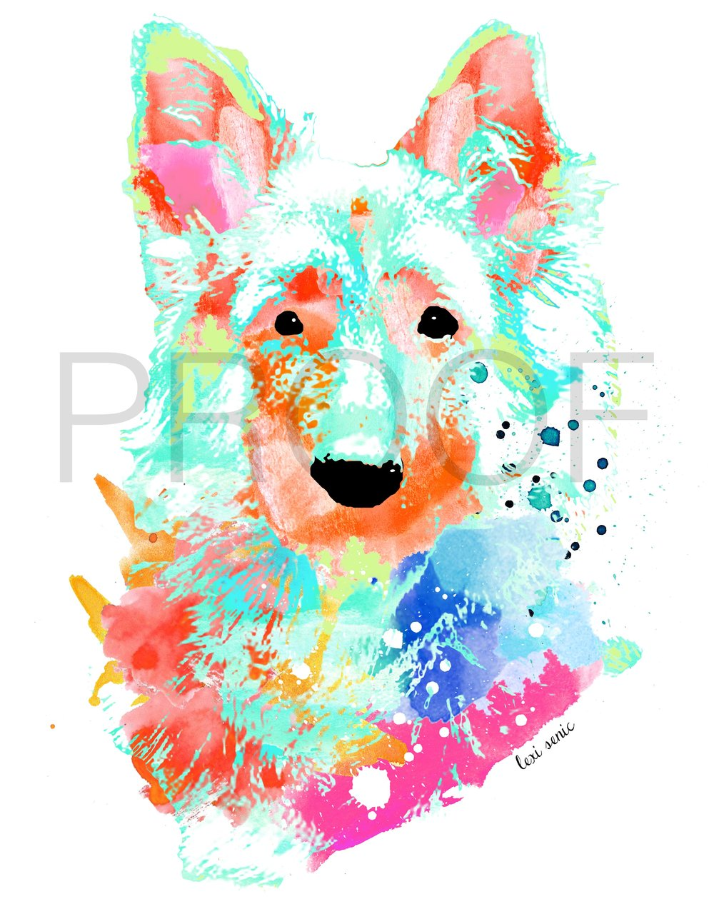 German Shepherd Dog Pet Portrait Tigger Free In The Lines