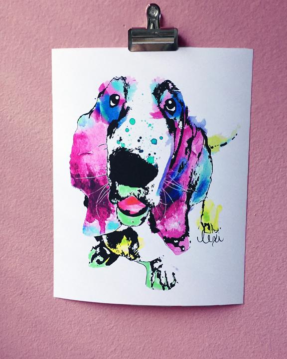 basset hound watercolor pet portrait || Biscuit