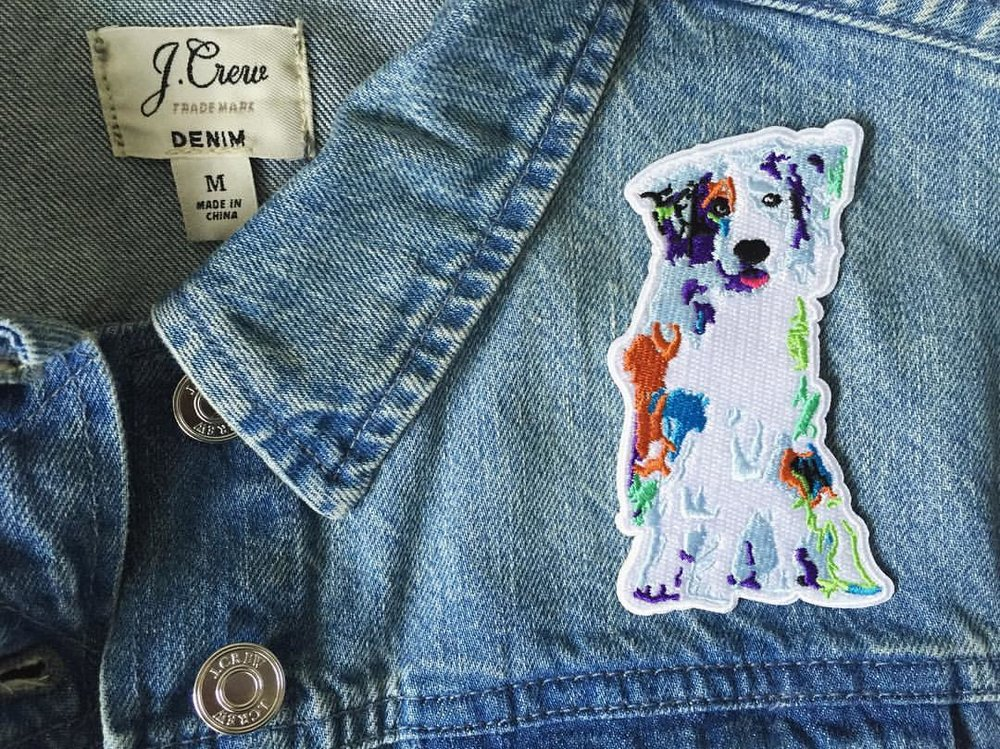 australian shepherd iron-on embroidered patch