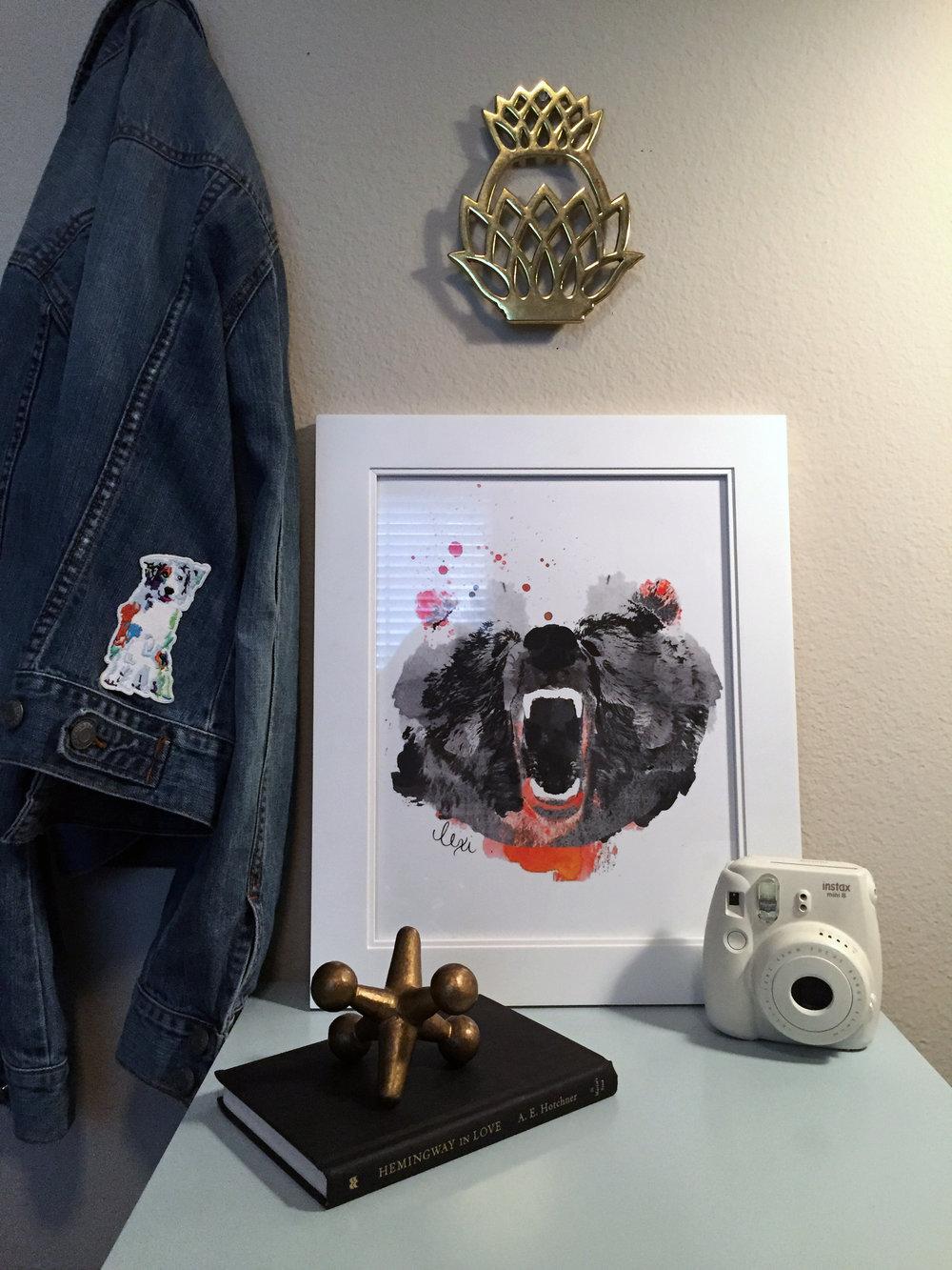 roaring bear in black watercolor print