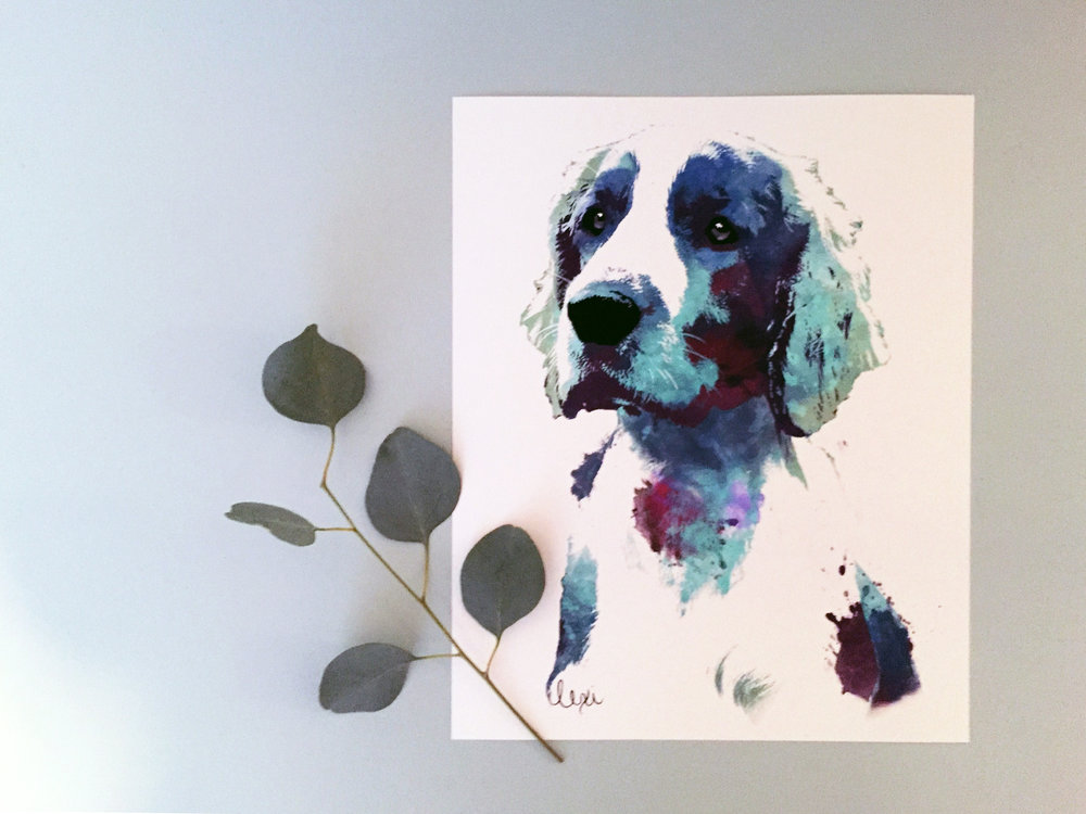 welsh springer spaniel watercolor pet portrait || Minnie
