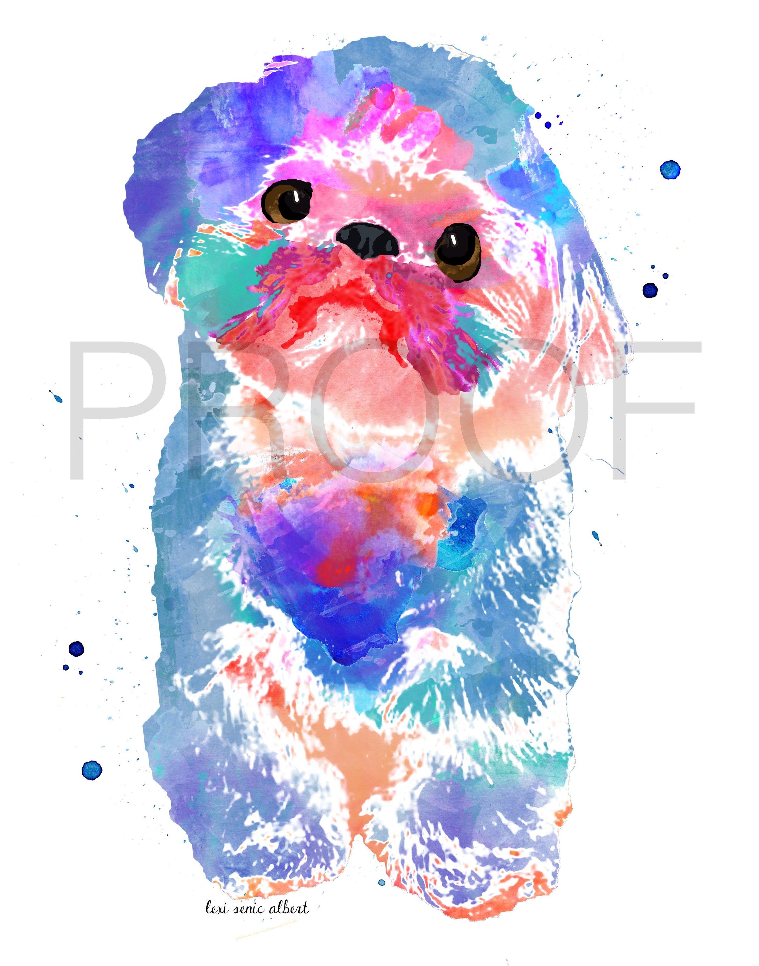 Shih Tzu Watercolor Dog Portrait Popcorn Free In The Lines