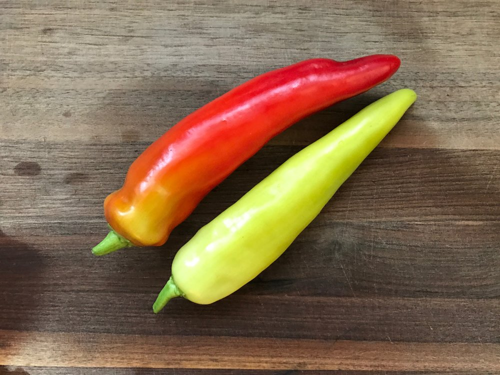 a close up of the spicy banana peppers