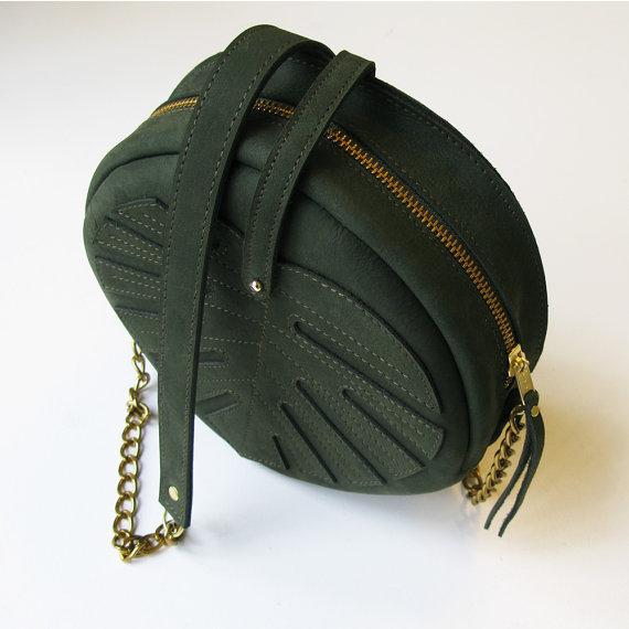 dark green leather leaf circle bag - LaLisette