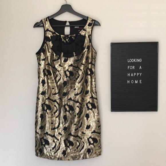 gold & black Miss Sixty sheath dress