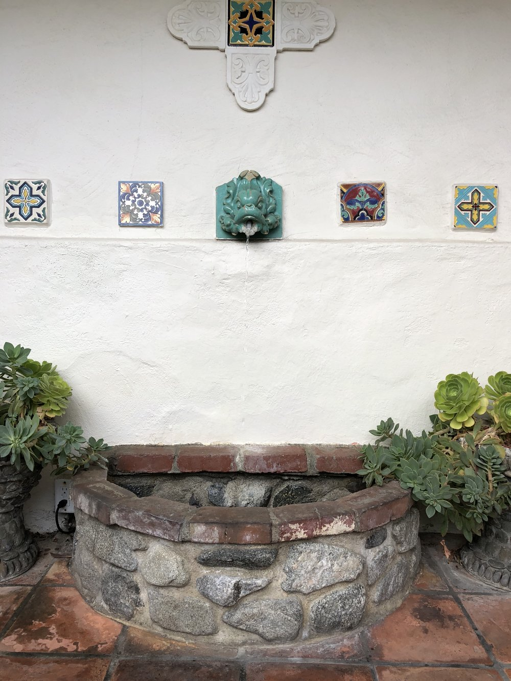 one of the many water features in casa laguna
