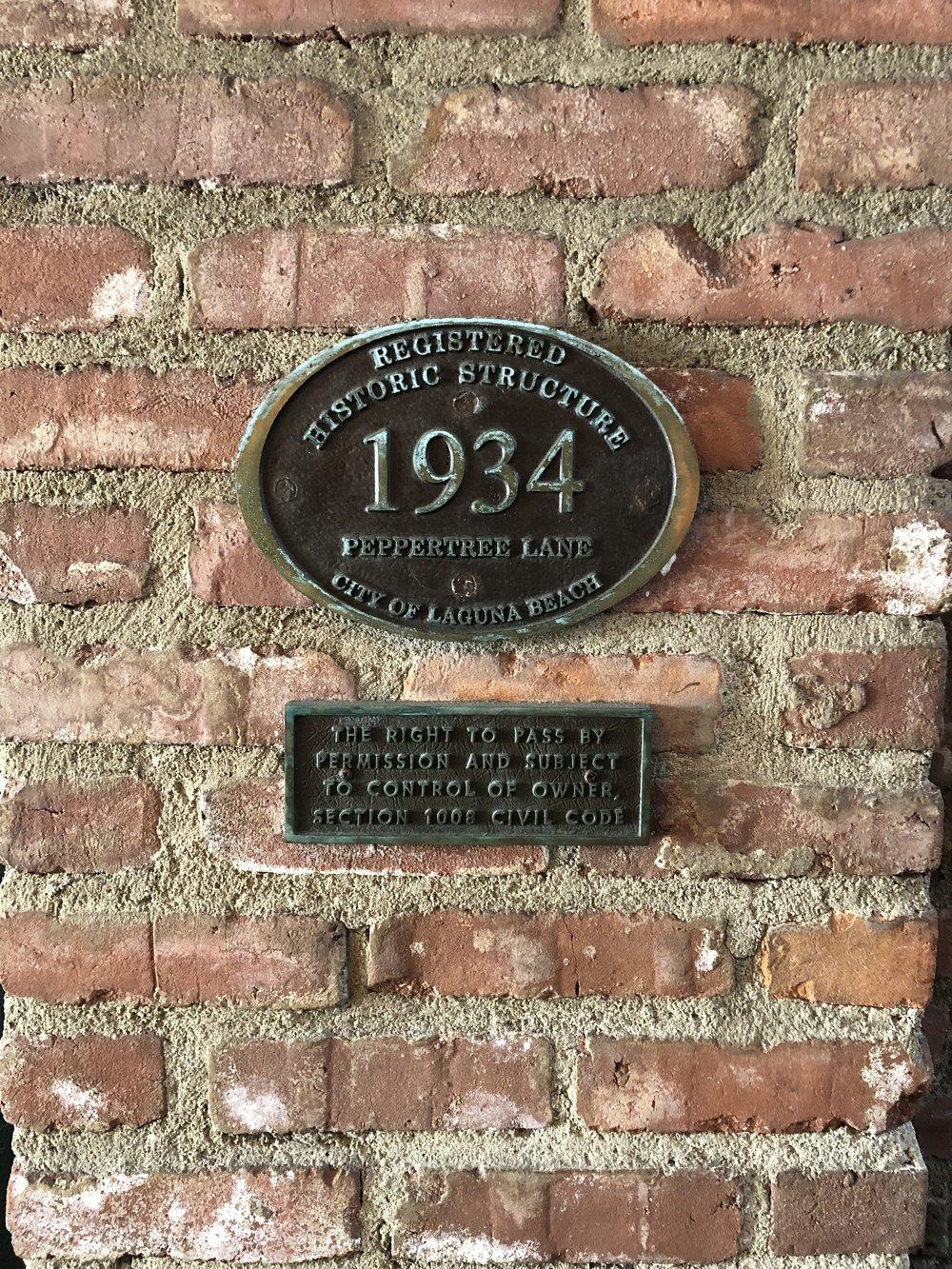 casa laguna's historic building placque