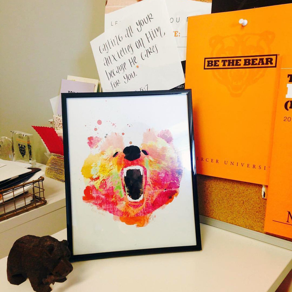 a customer's photo of where their bear sits in their office!