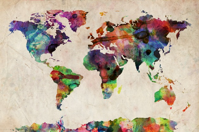 kari-shma :     (via  World Map Urban Watercolor Art Prints by Michael Tompsett )   Click through to buy print.