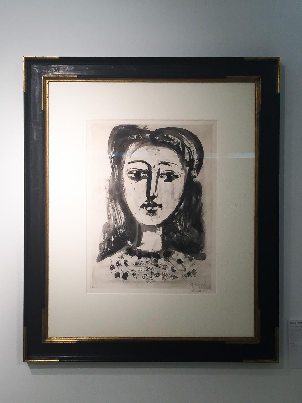 Pablo Picasso, Tête de femme aux cheveux flous,  24 June 1947, Aquatint on Arches wove paper