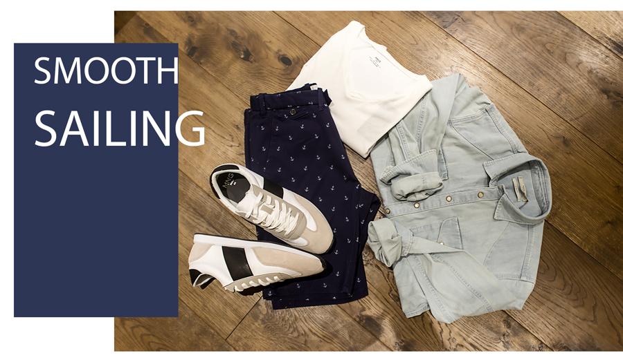Short azul marino, Camiseta blanca, Camisa denim & Sneakers en tonos neutros  H.E. by MANGO