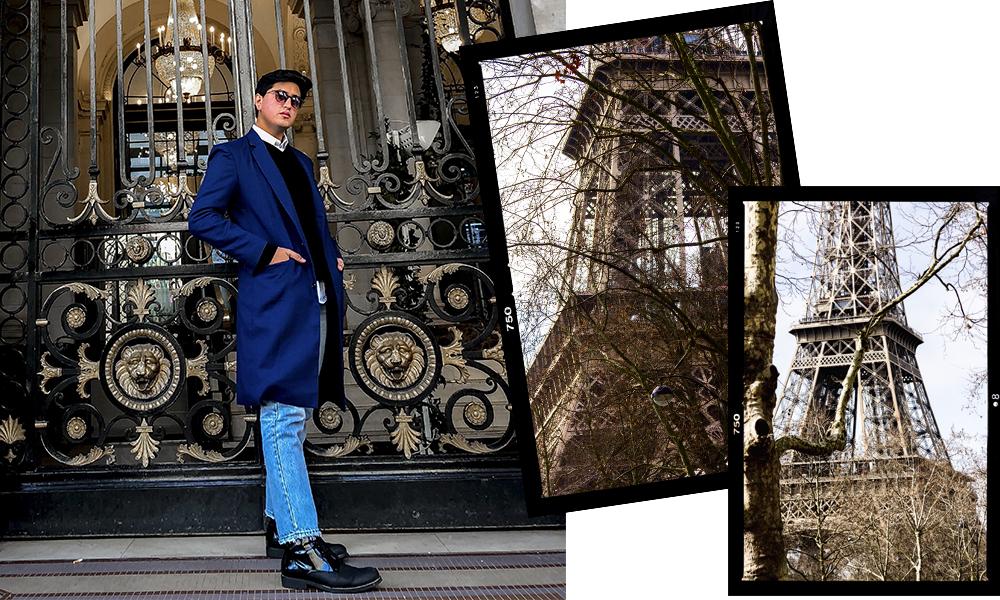 Saco largo  Yoyo Barrientos , Jeans  Distefano , Camisa  Calvin Klein , Sueter  Banana Republic , Botas  Call It Spring