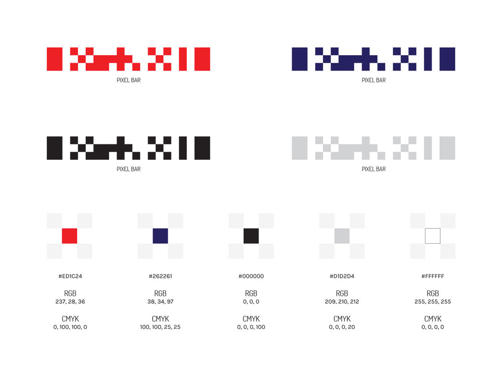 """Pixel Bar"" design element (inspired by braille) and color palette."