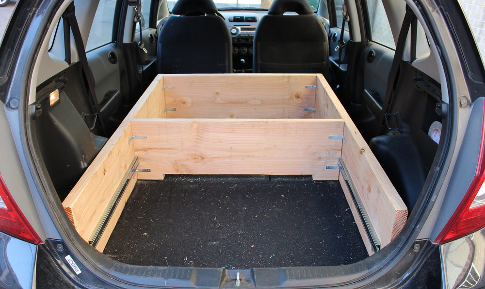 The base of the bed, built for car camping in Adam Jeffers' Honda Fit.