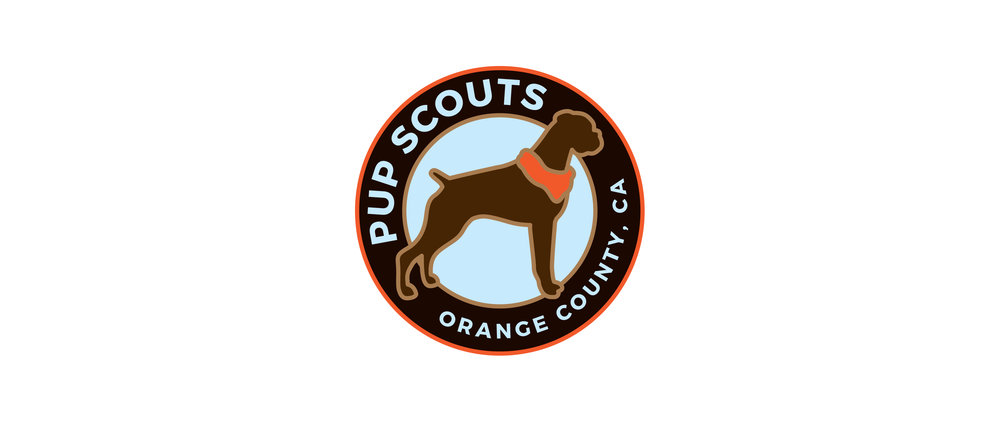 A patch inspired logo for professional dog walkers in Southern California