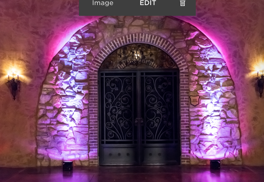 LED UPLighting - Mini Package $125Gobo projector or two accent lightsNote: Price includes stock Gobo image; Custom image additional.