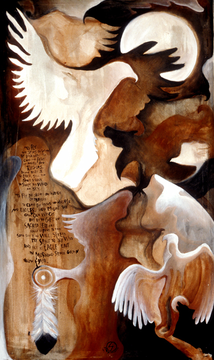 Eagle's Song (mixed media on canvas) by Rafe Pearlman