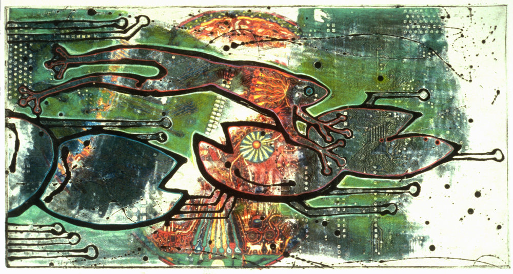 """Frog in the Machine""  Mixed Media Etching"