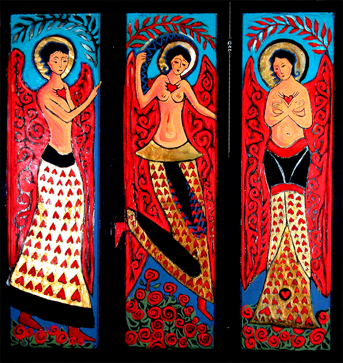 """Three Women Triptych""  Gouache/plaster/wood"