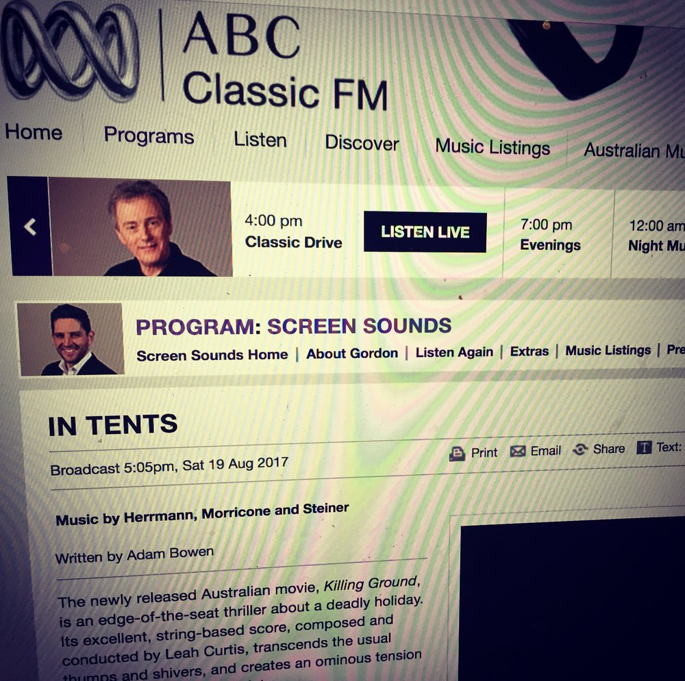 The 'Killing Ground' Score featured on ABC Classic FM's Screen Sounds