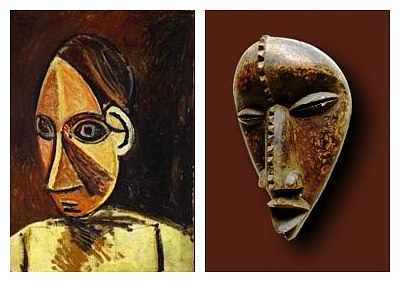 Picasso and the Cubists were inspired by African art. LEFT: Pablo Picasso, 'Head of a Woman', 1907 (oil on canvas) RIGHT: Dan tribal mask from West Africa