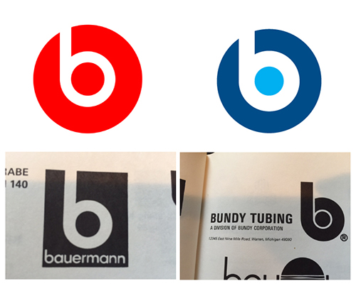 TOP LEFT: Beats by Dre logo 2012 TOP RIGHT: A logo I made in 1998 for a now defunct tech company, nearly 15 years before the Dre logo BOTTOM LEFT AND RIGHT: Old logos from the 1960's out of a logo book