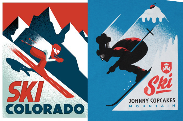 LEFT: My Ski Colorado poster, 2012 RIGHT: Johnny Cupcakes T shirt, 2015 I'm on the fence about this one. Obviously they didn't just trace my design. On the other hand, the entire concept, layout, angles and textures are all remarkably similar to mine. Inspired by or ripped-off? My design was obviously inspired by vintage travel posters, which was what the client asked for.